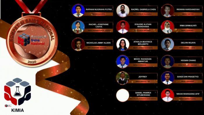 Para pemenang peraih medali perunggu KSN jenjang SMA Bidang Kimia 2020