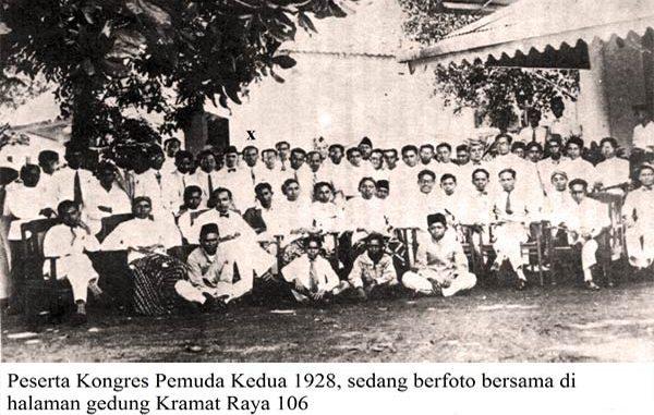 Peserta Kongres Pemuda Kedua 1928 sedang berfoto bersama di halaman Gedung Kramat Raya 106