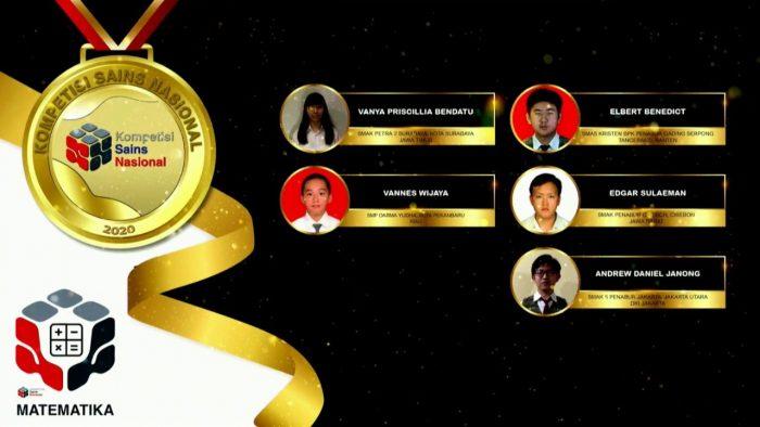 Para pemenang peraih medali emas KSN jenjang SMA Bidang Matematika 2020