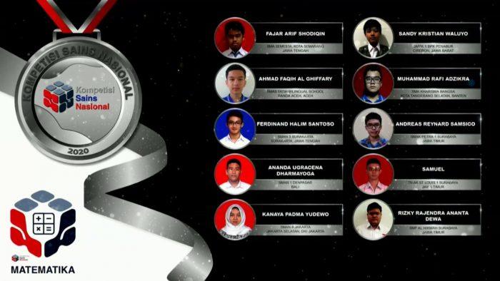 Para pemenang peraih medali perak KSN jenjang SMA Bidang Matematika 2020