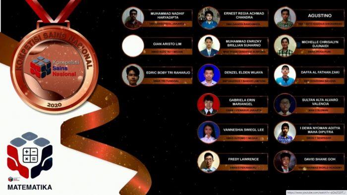 Para pemenang peraih medali perunggu KSN jenjang SMA Bidang Matematika 2020