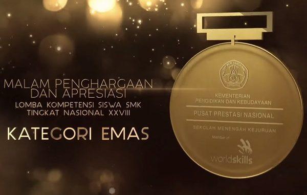 Tangkapan medali emas Lomba Kompetensi Siswa (LKS) SMK Tingkat Nasional 2020 pada Malam Apresisasi dan Penghargaan, Jumat, 23 Oktober 2020