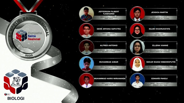 Para pemenang peraih medali perunggu KSN jenjang SMA Bidang Biologi 2020