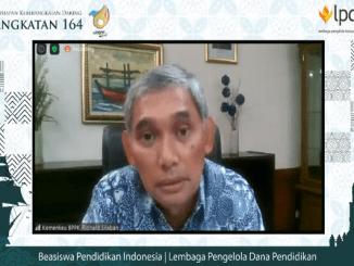 Presiden Direktur LPDP, Rionald Silaban pada Persiapan Keberangkatan PK-164. Agenda dilakukan secara daring dengan menyampaikan pesan-pesan bermakna untuk diingat oleh penerima LPDP (KalderaNews/Syasa Halima)da Persiapan Keberangkatan PK-164. Agenda dilakukan secara daring (KalderaNews/Syasa Halima)