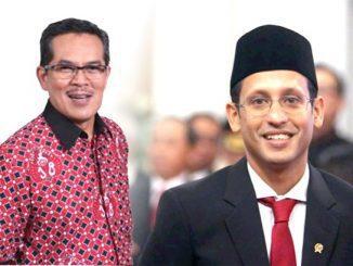 Ilustrasi: St. Kartono dan Mendikbud Nadiem Anwar Makarim. (KalderaNews.com/repro:y.prayogo)