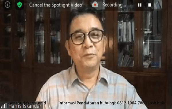 Ir Haris Iskandar pada Webinar Kidventure Penabur (03/10). Ia memberikan pemaparan mengenai pendampingan pembelajaran anak saat pandemi Covid-19 (KalderaNews/Syasa Halima)