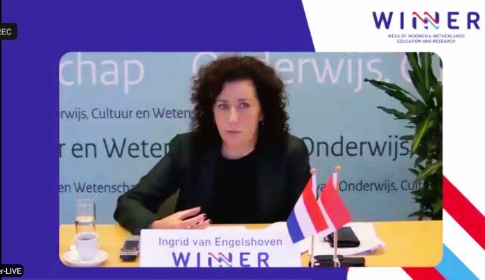 Menteri Pendidikan, Kebudayaan dan Ilmu Pengetahuan Belanda, Ingrid Katharina van Engelshoven saat pembukaan Week of Indonesia-Netherlands Education and Research (WINNER), Selasa, 24 November 2020