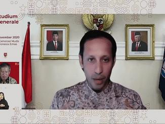 Menteri Pendidikan dan Kebudayaan, Nadiem Makarim, pada Studium Generale 2020 (02/11). Kemdikbud merampingkan indikator kesuksesan Program Kampus Merdeka menjadi 8 Indikator Komponen Utama (IKU) (KalderaNews/Syasa Halima).