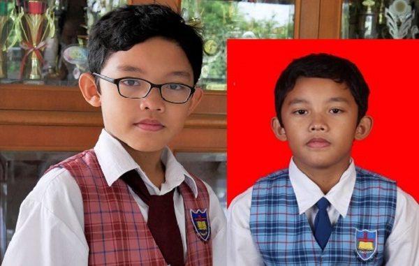 Peserta didik BPK PENABUR Jakarta yakni Jesreel Hasiholan Tua Sigalingging dari SMPK 5 PENABUR (biru) dan saat masih di SD (merah)
