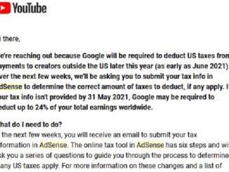 Peraturan Pajak Adsense YouTube