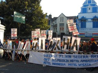 Demo pekerja dan buruh menuntut keadilan di Yogyakarta