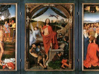 """Lukisan Abad Pertengahan berjudul """"Triptych of The Resurrection"""" oleh Hans Memling, seorang pelukis asal Belgia utara, tentang penyaliban Yesus Kristus, kebangkitan, dan kenaikan-Nya ke surga"""
