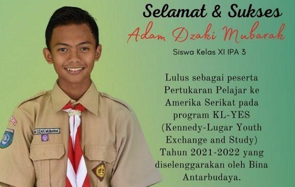 Siswa kelas XI IPA MAN Insan Cendekia Kota Batam, Adam Dzaki Mubarak