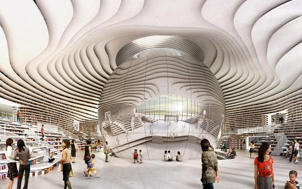 Ilustrasi: Perpustakaan Tianjin Binhai, Cina. (KalderaNews.com/Ist.)