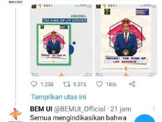 Kicauan akun resmi BEM UI yang menyebut Jokowi King of Lip Service