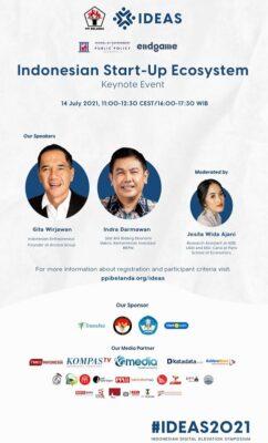 "Sesi keynote event Indonesian Digital Elevation Symposium (IDEAS) 2021 dengan tema ""Indonesian Start-up Ecosystem"" yang diselenggarakan oleh Persatuan Pelajar Indonesia (PPI) Belanda pada Rabu, 14 Juli 2021"