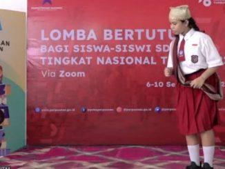 Pelangi Tunjung, perwakilan Provinsi Jawa Timur meraih juara pertama Lomba Bertutur bagi siswa SD/MI Nasional 2021. (KalderaNews.com/Dok.Pribadi)