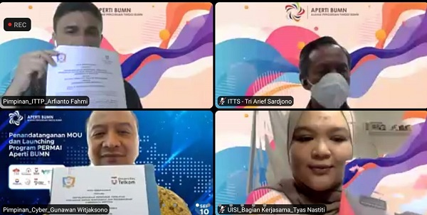 Penandatanganan MoU program pertukaran pelajar PERMAI APERTI BUMN 2021 antara 8 kampus di bawah APERTI BUMN dengan Universitas Cyber Indonesia