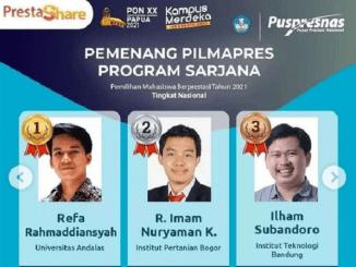 Pemenang Pilmapres 2021 program Sarjana. (KalderaNews.com/@ditjen.dikti)