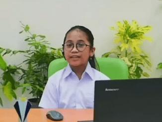 Siswa SD Tarakanita 5 Jakarta, Rachel Violitha Christabel, berbagi pengalaman mengolah sampah dan hemat energi dalam kehidupan sehari-hari di perayaan Hari Ozon Internasional 2021 oleh Yayasan Tarakanita pada Rabu, 15 September 2021