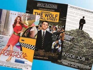 Ilustrasi: Poster film Inside Job, The Wolf of Wall Street, dan Confessions of a Shopaholic. (KalderaNews.com/repro y.prayogo)