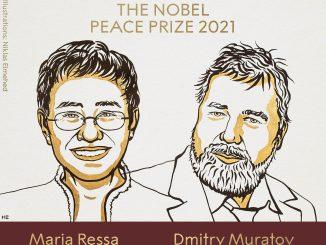 Maria Ressa dan Dmitry Muratov, peraih Nobel Perdamaian 2021. (KalderaNews.com/@NobelPrize)